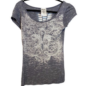 VOCAL Graphic T-Shirt Gray Embellished Distressed